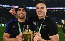 Liam Messam and Sonny Bill Williams celebrate winning the World Cup 2015.