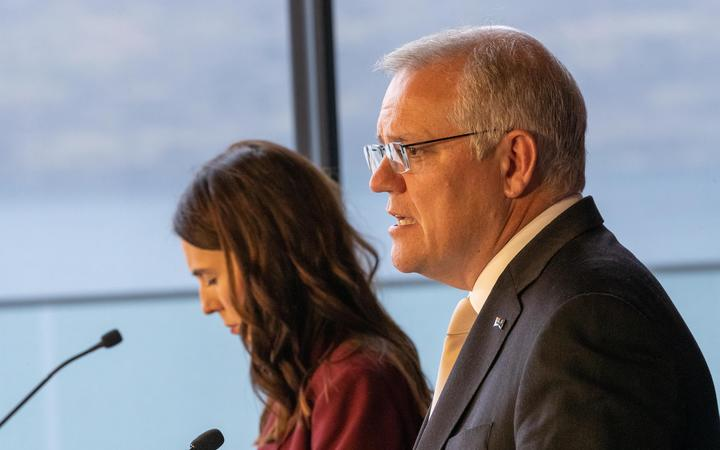 QUEENSTOWN, NEW ZEALAND - MAY 31: New Zealand Prime Minister Jacinda Ardern and Australian Prime Minister Scott Morrison during the Australia-New Zealand Leaders Meeting on May 31, 2021 in Queenstown, New Zealand.