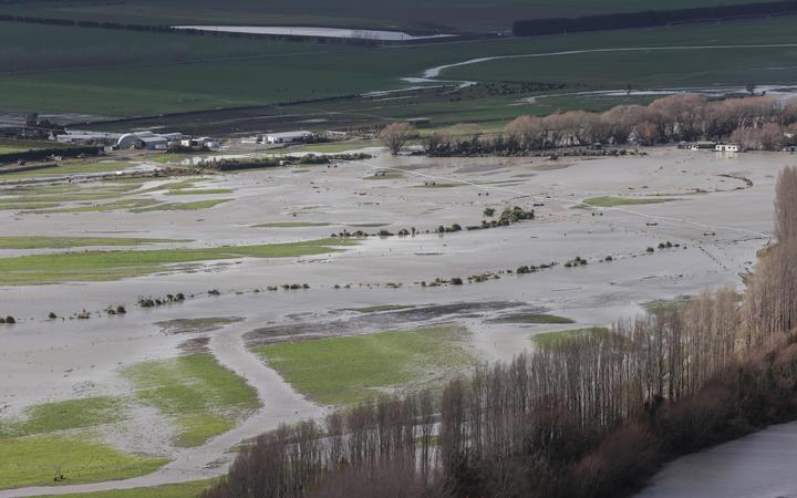 Flood affected areas around Ashburton.