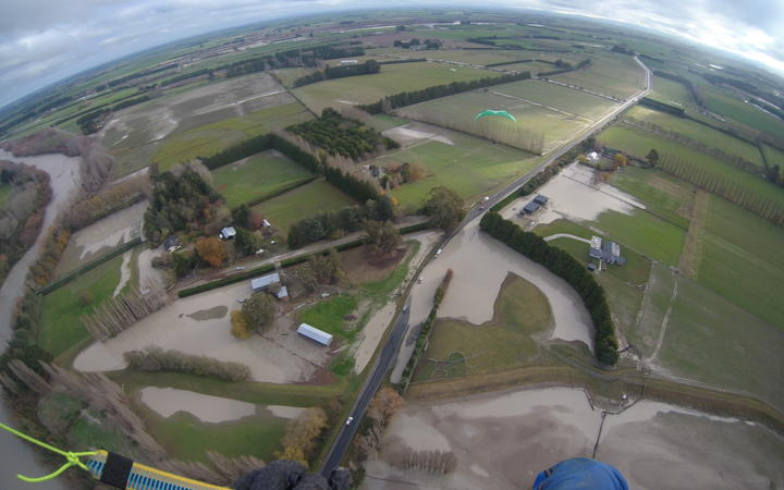 An aerial view of flood damage around farms and roads in Mid-Canterbury