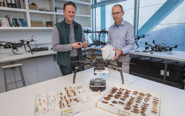 Dr Stephen Pawson, left, and Dr Graeme Woodward are using tech to track insects using drone mounted radar.
