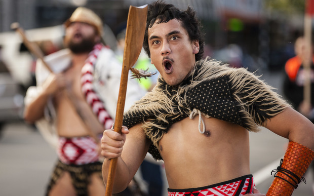 A group performs during a parade to celebrate the start of Māori Language Week.