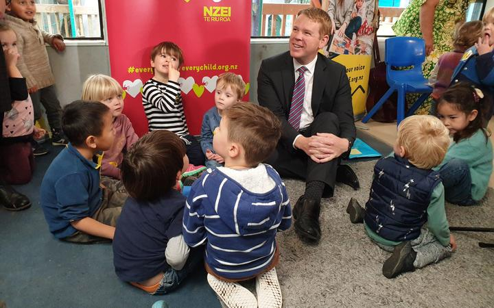 Minister of Education Chris Hipkins announcing extra funding to give early childhood teachers pay parity.