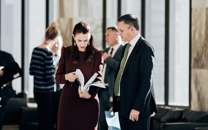 Prime Minister Jacinda Ardern with Climate Change Minister James Shaw.