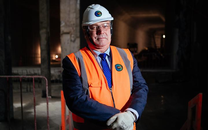 Breakthrough – ceremony held for the Bill Cashmore at the tunnel breakthrough for the Commercial Bay site, Downtown Auckland.breakthrough of the tunnels for Auckland City Rail Link tunnel construction. Auckland Deputy Mayor