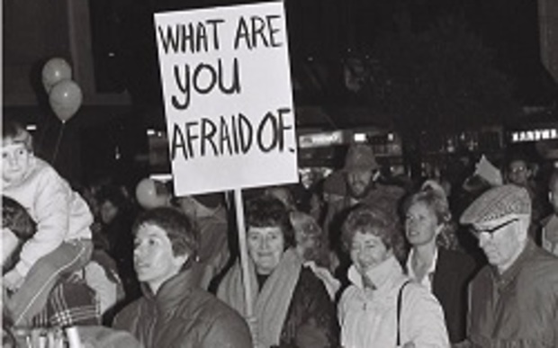 March in support of Homosexual Law reform Bill, 1986 by David Hindley