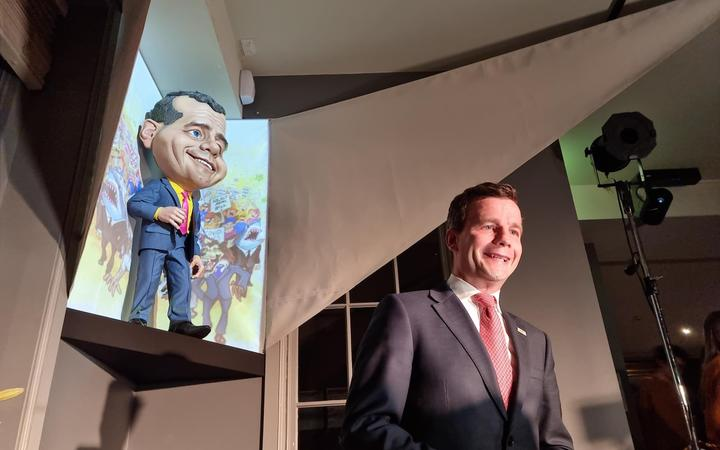 ACT leader David Seymour with his puppet caricature at Wellington's Backbencher pub.