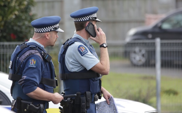 Police attend the scene of a cordon at Mangere.