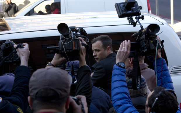 Oscar Pistorius arrives in court for sentencing on 6 July 2016
