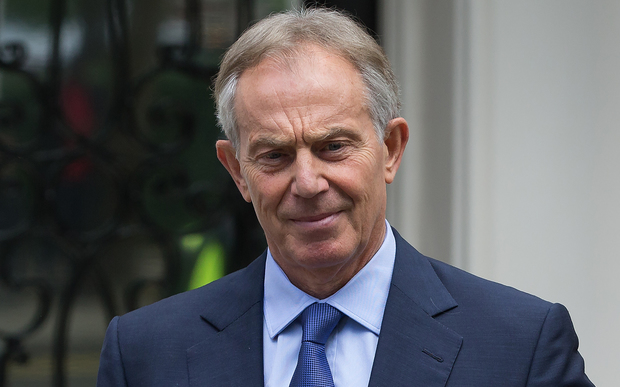 Former British Prime Minister Tony Blair leaves his office in central London on July 5, 2016.