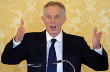 Former UK Prime Minister Tony Blair during a news conference following the releasee of the Iraq Inquiry report.