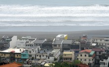 Waves hit the shore line near the Wushih harbour in Yilan as typhoon Goni approaches eastern Taiwan last year.