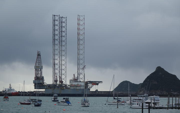The Ensco 107 jack-up rig has been moored at Port Taranaki for several months.