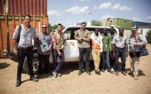 Simon Day with the World Vision South Sudan team, journalist Michael Morrah, and cameraman Nick Zieltjes