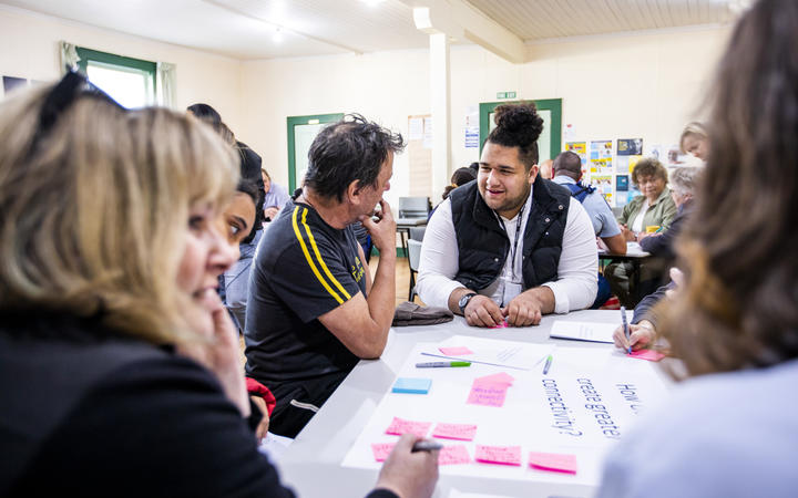 A community workshop in Taihape contributes to the design of the Growing Collective Wellbeing suicide prevention strategy.