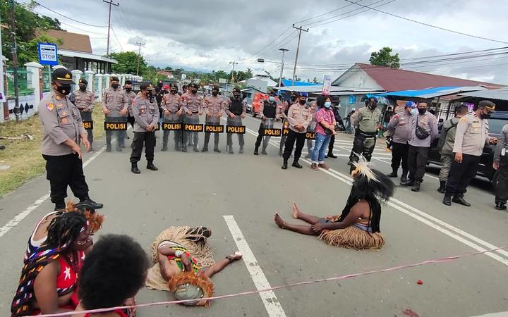 A demonstration by West Papuans against the Indonesian government's plans for Special Autonomy provisions for their region, Manokwari, 15 July 2021