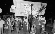 A march in support of homosexual law reform in Wellington on 24 May 1985.