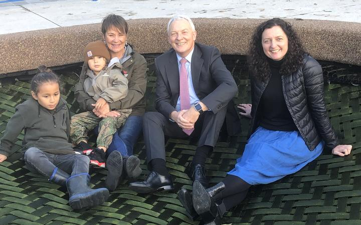 Mayor Phil Goff and Cnr Pippa Coom with artist Tessa Harris and her mokopuna.