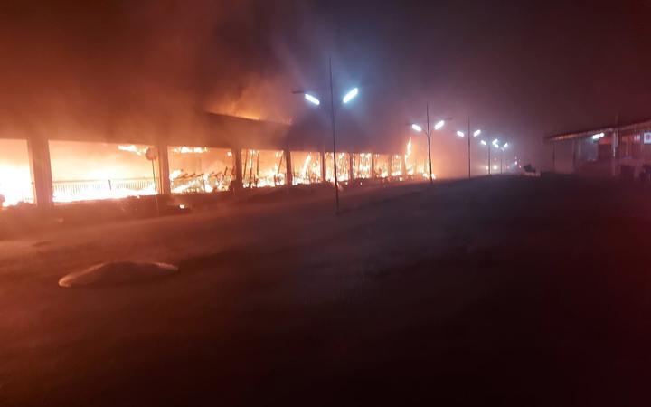 Fire at a commercial precinct in Ba, Fiji.