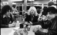 Suicide's Marty Rev (L) and Alan Vega (R), with Debbie Harry around Times Square , NYC late 1970s