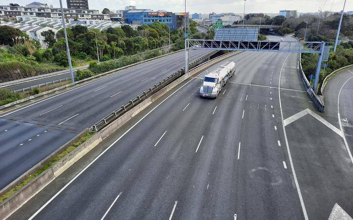 Traffic on the Auckland motorway near the central city at 11.30am on an atypical Thursday morning.