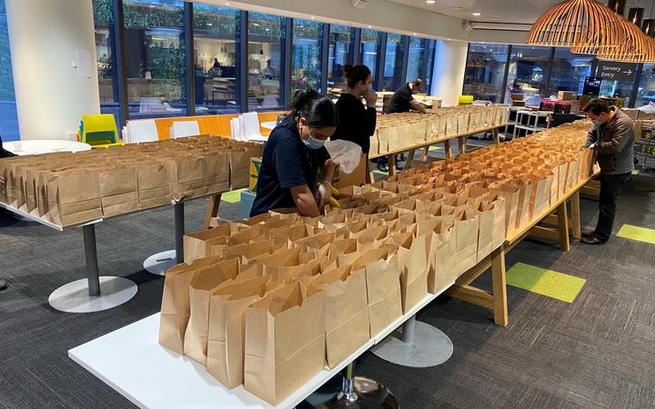 Food packs are being prepared at the Auckland City Mission.