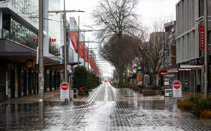 Christchurch CBD on the first day of level 4 lockdown from Delta Covid-19 case