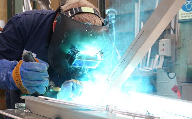 Q-West Boat Builders welding fabricator Grant Loveridge works on a new ferry for the Auckland market.