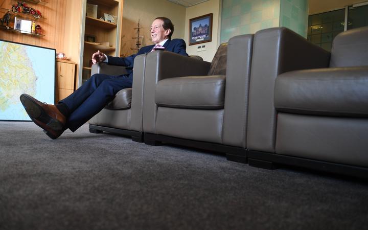Invercargill Mayor Sir Tim Shadbolt reclining in his mayoral office in 2020.