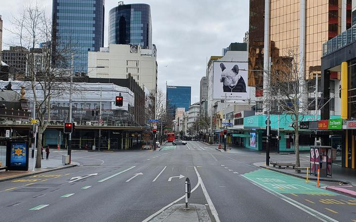 Central Auckland on Wednesday 25 August 2021 on the eighth today of a Covid-19 lockdown.