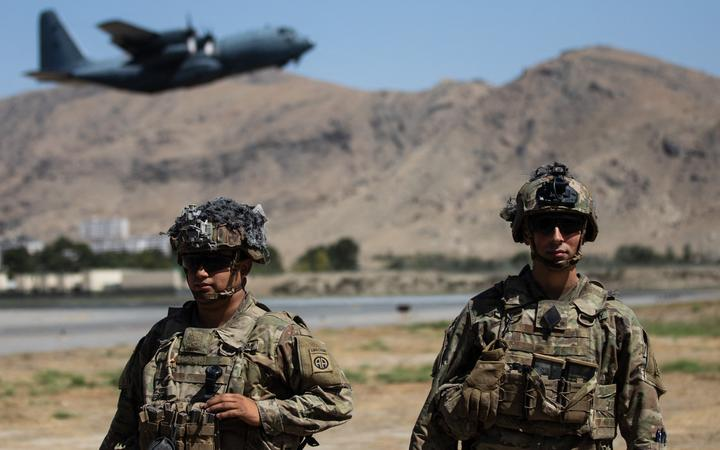US military positions of the XVIII Airborne Corps at the Hamid Karzai International Airport in Kabul, Afghanistan, on August 27, 2021.