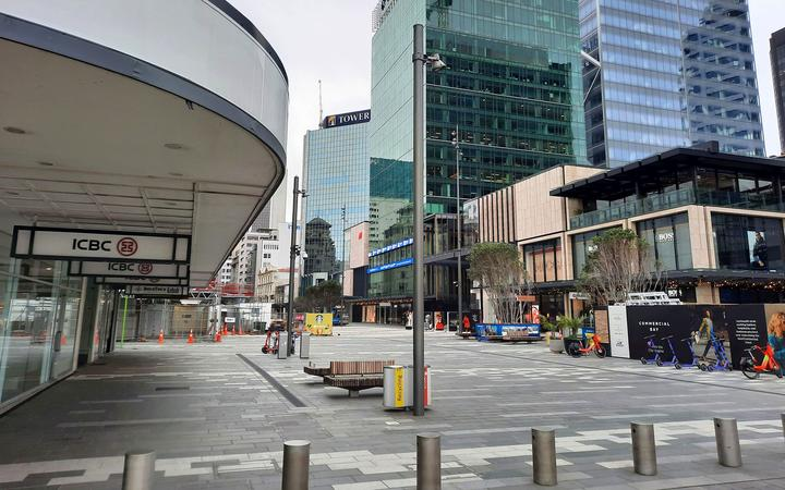 A deserted Central Auckland between August 2021 lockdown.
