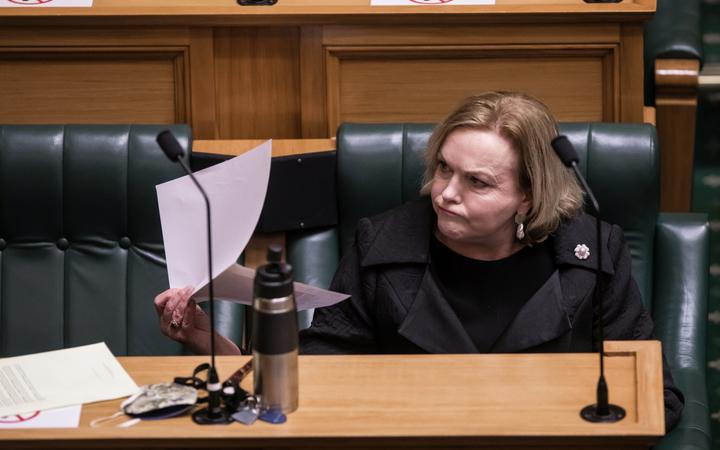 Judith Collins at the time of the first question and in the House Alert Level 4 lockdown in the House Debating Chamber.