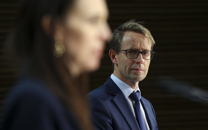 Director General of Health Dr. Ashley Bloomfield and Prime Minister Jacinda Ardern during a press conference in Parliament in Wellington, New Zealand on August 31, 2021.