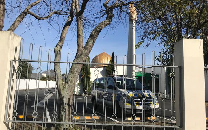 Police at Al Noor mosque in Christchurch.