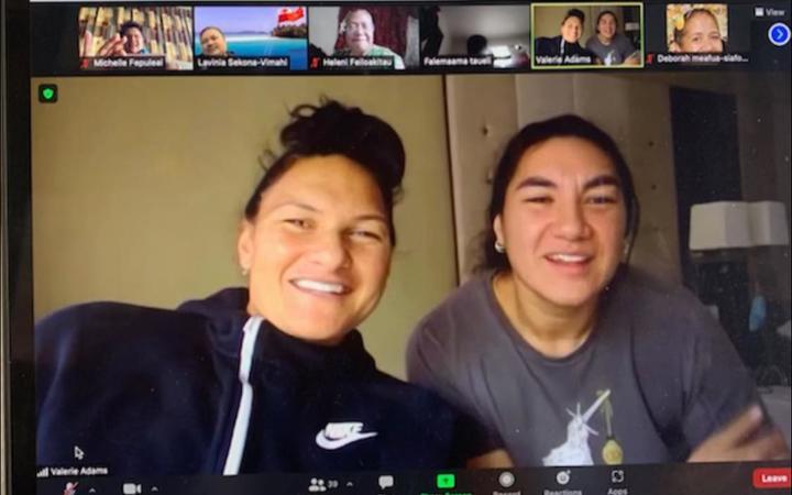 Valerie & Lisa Adams celebrating Tongan Language Week 2021 with Nga Iwi School