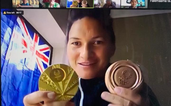 Valerie Adams joined in on Nga Iwi School's celebration online for Tongan Language Week 2021