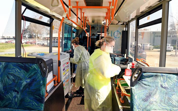 On board Jabba the bus - Goulburn Valley Health's mobile Covid-19 vaccination unit.
