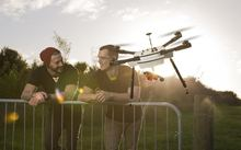 Haptly co-founders Rab Heath and Nelson Shaw with one of their monitoring drones.