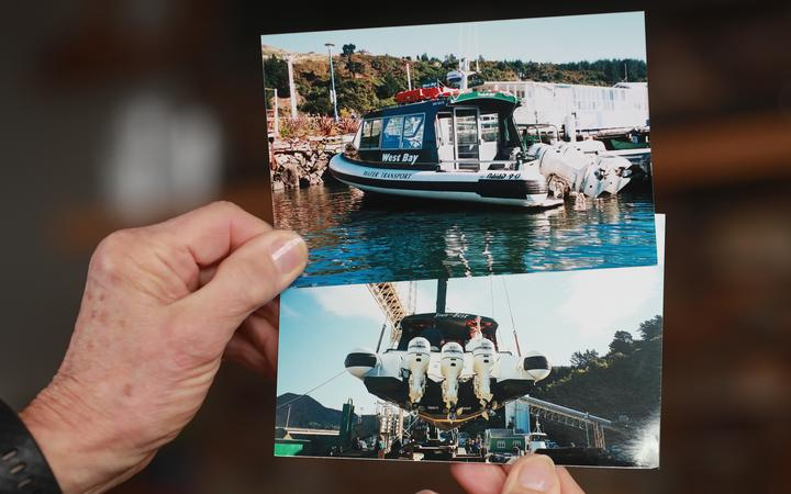 Ros Benson shows pictures of STB, the second boat in the West Bay Water Transport fleet.