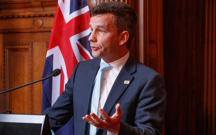 ACT leader David Seymour releases the party's Covid 3.0 (life after lockdown) plan to media in the Legislative Council Chamber in Parliament.