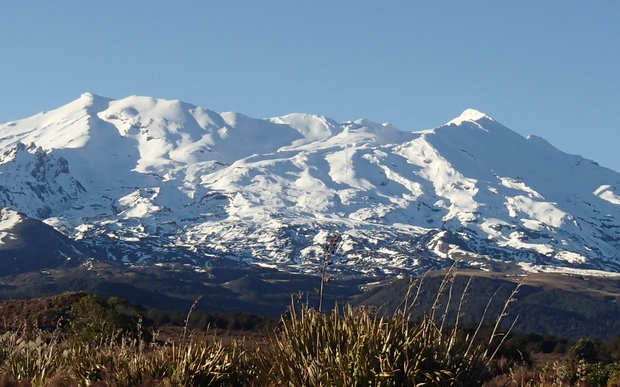 Mount Ruapehu, seen from the road leading up to the Whakapapa Village, on a fine sunny day.