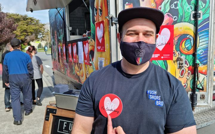 Anton Matthews was offering free fish and chips to anyone who got a Covid-19 vaccine at Ngā Hau E Whā Marae in Christchurch today.