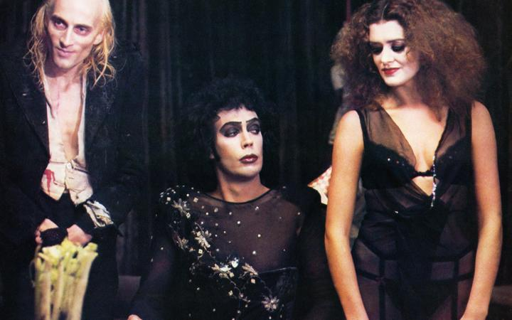Richard O'Brien, Tim Curry and Patricia Quinn in a publicity shot for the Rocky Horror Picture Show (1975)