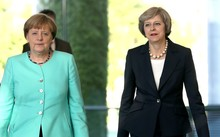 German Chancellor Angela Merkel, at left, with British Prime Minister Theresa May.