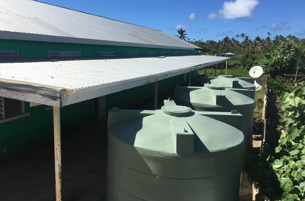 Water tanks installed as part of the New Zealand led exercise Tropic Twilight at the Faleloa Community Hall in Tonga.