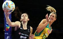 Australia netball captain Laura Geitz tussles with Silver Bailey Mes during the World Cup in Sydney.