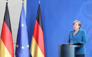 German Chancellor Angela Merkel speaks during a press conference after the Munich shooting.