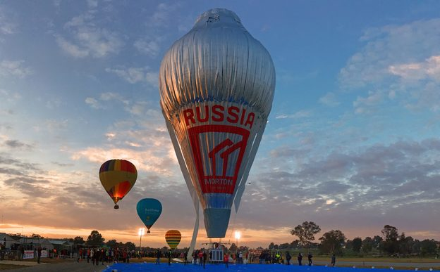 The hot air balloon Morton is seen in this photo about to take to the skies for a round-the-world trip from Northam in Western Australia.
