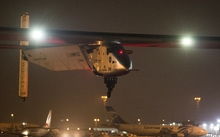 Solar Impulse 2 taking off from Cairo International Airport.